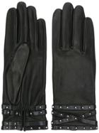 Agnelle Studded Cuff Gloves - Black