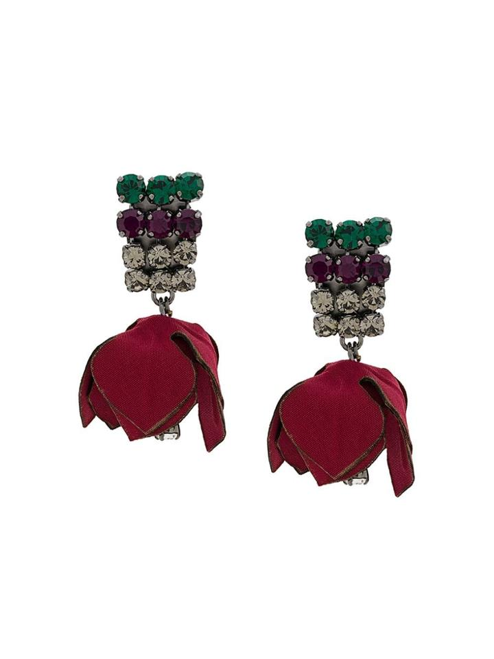Marni Floral Clip-on Drop Earrings - Red
