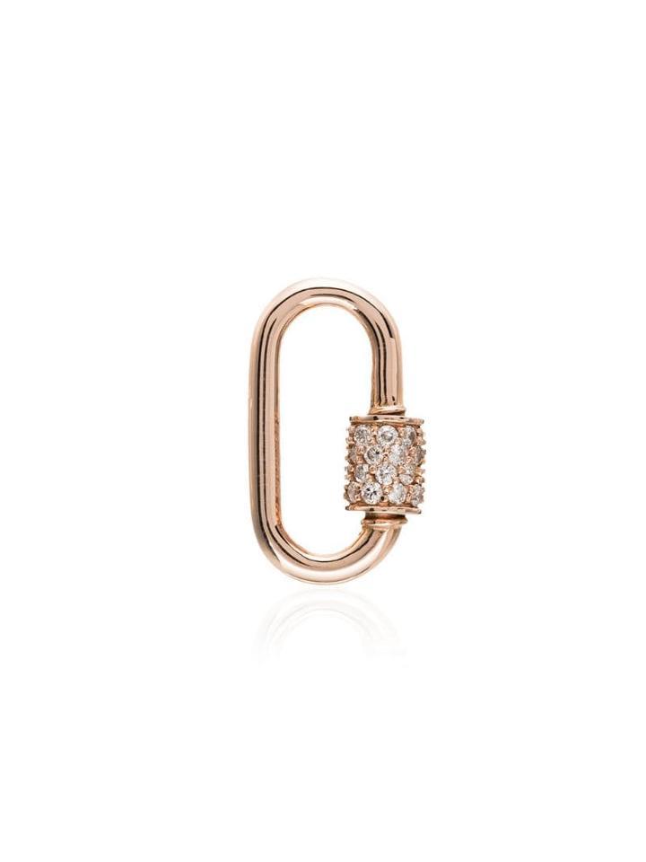 Marla Aaron 14kt Rose Gold Embellished Lock Charm - Metallic