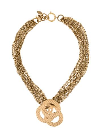 Chanel Vintage Multi-chained Logo Necklace - Metallic