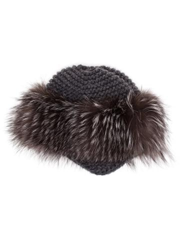 Inverni Fur Trim Beanie, Women's, Grey, Fox Fur/cashmere