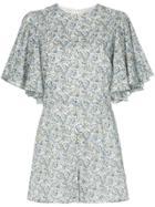 Les Reveries Floral Print Playsuit - Liberty Chive