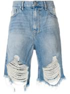 Stampd Distressed Denim Shorts - Blue