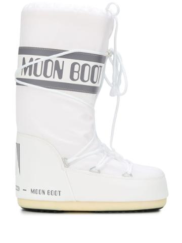 Moon Boot Logo Print Snow Boots - White