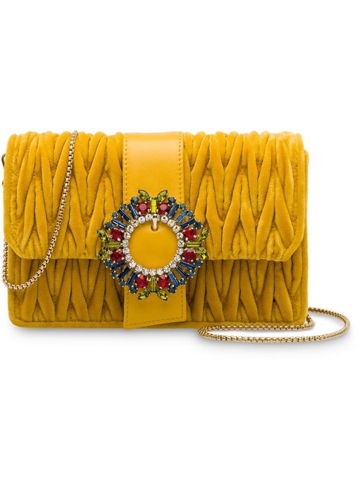 Miu Miu Matelassé Velvet Shoulder Bag - Yellow