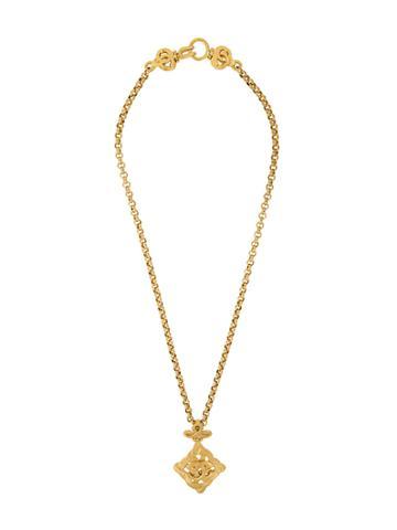Chanel Vintage Twisted Medallion Necklace - Metallic