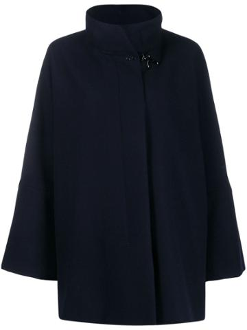 Fay Draped Wool Blend Coat - Blue