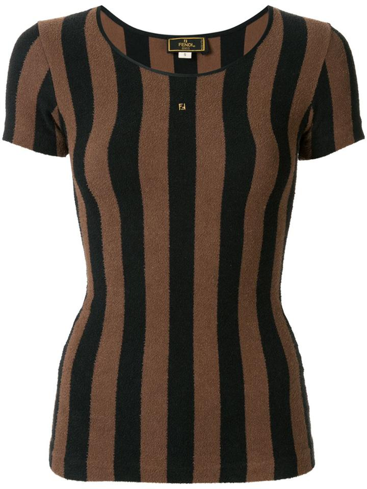Fendi Pre-owned Striped T-shirt - Brown