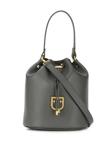 Furla Logo Plaque Bucket Bag - Grey