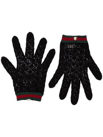 Gucci Black Crochet Pearl Button Gloves