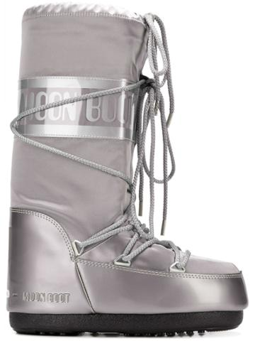 Moon Boot Metallic Snow Boots - Silver
