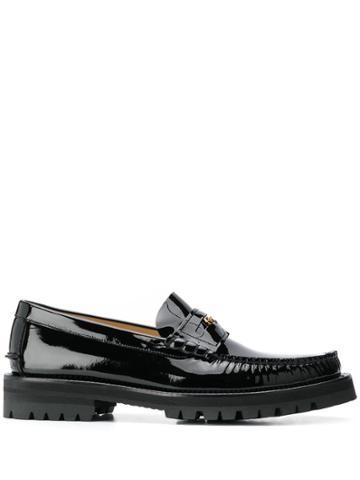 Versace Medusa Head Embellished Loafers - Black