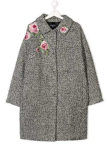 Monnalisa Teen Rose Embroidered Cocoon Coat - Black