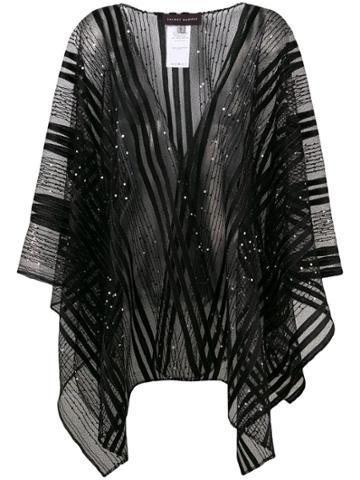 Talbot Runhof Sheer Embellished Poncho - Black