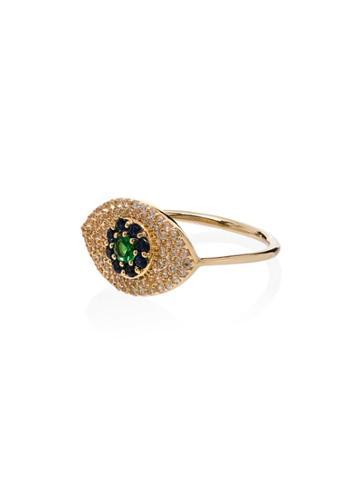 Ileana Makri 18k Yellow Gold Blossom Eye Tsavorite And Sapphire Ring -
