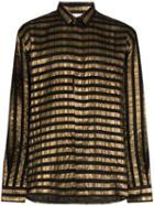 Saint Laurent Lamé Striped Shirt - Black
