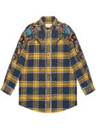 Gucci Embroidered Plaid Oversized Shirt - Blue