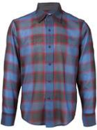 Facetasm - Plaid Longsleeve Shirt - Men - Nylon/wool - 5, Blue, Nylon/wool