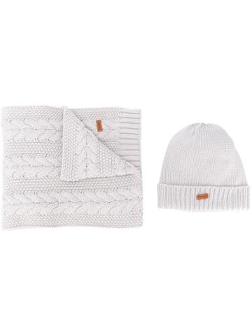 Barbour Knitted Hat And Scarf Set - Grey