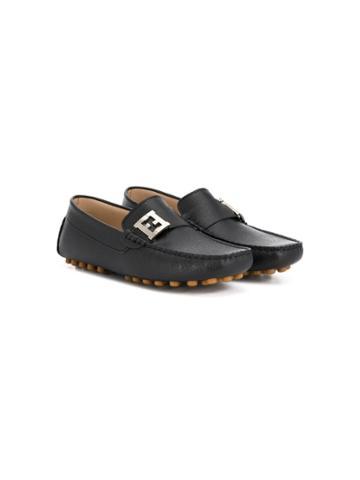 Fendi Kids Teen Logo Loafers - Black
