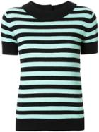 Chanel Pre-owned Cashmere Striped Knitted Top - Black