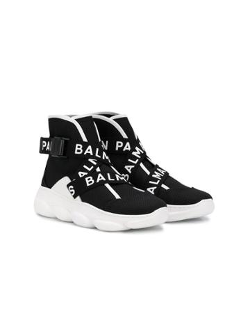 Balmain Kids Teen Logo Trims Sneakers - Black