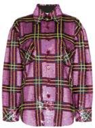 Ashish Sequin Embellished Plaid Shirt - Pink & Purple