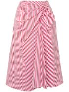 Muveil Twisted Front Striped Skirt - Red