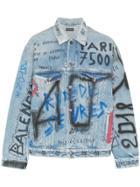 Balenciaga Graffiti Denim Jacket - Blue