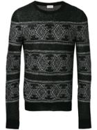 Saint Laurent Jacquard Fitted Sweater - Black