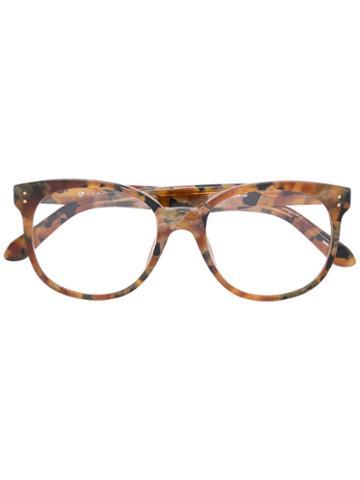Linda Farrow Turtle Print Glasses, Brown, Acetate