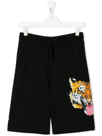 Marcelo Burlon County Of Milan Kids Teen Tiger Print Shorts - Black