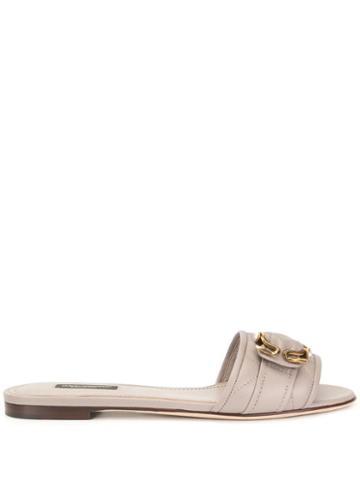 Dolce & Gabbana Flat Embellished Slides - Grey