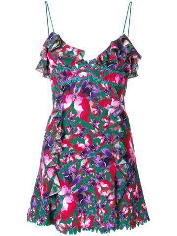 La Perla Ruffle Trim Printed Dress - Multicolour