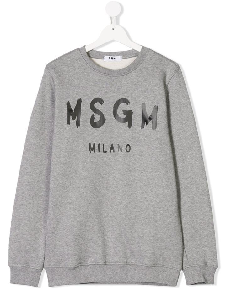 Msgm Kids Teen Logo Print Sweatshirt - Grey