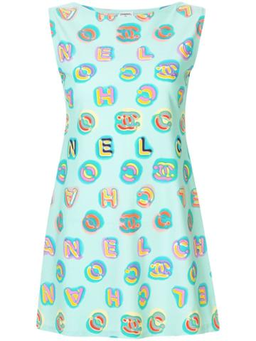 Chanel Pre-owned Cc Logos Sleeveless One Piece Dress - Blue