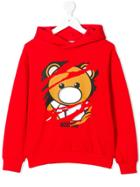 Moschino Kids Teddy Logo Print Hoodie - Red