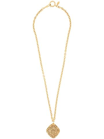 Chanel Pre-owned Embossed Medallion Long Necklace - Gold