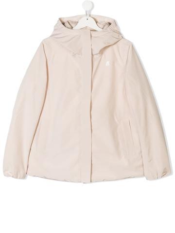 K Way Kids Teen Padded Hooded Jacket - Neutrals