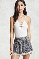 Forever21 Belted Mosaic Print Shorts