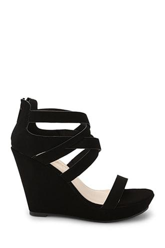 Forever21 Faux Suede Caged Wedges