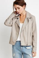 Forever21 Women's  Faux Leather Moto Jacket (taupe)