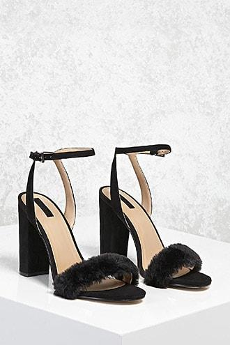 Forever21 Faux Fur Chunky Heels