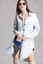 Forever21 Patched Denim Shirt Dress