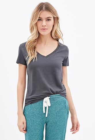 Forever21 Plus Classic V-neck Tee Dark Grey Small