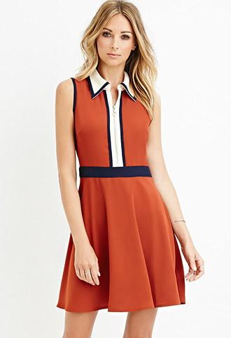 Love21 Colorblock Collared Dress