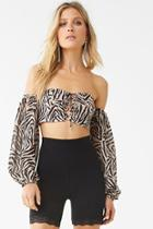 Forever21 Tiger Striped Lace-up Crop Top