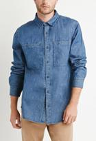 21 Men Oversized Pocket Denim Shirt