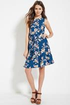 Love21 Women's  Teal & Pink Contemporary Floral Print Dress