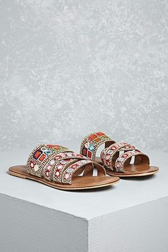 Forever21 Mia Beaded Strappy Slides